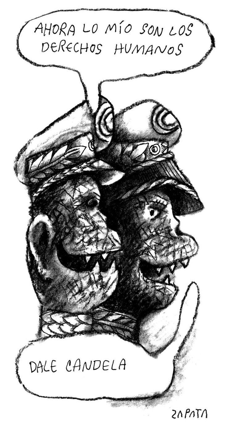 Caricatura de Zapata sobre derechos humanos. Caracas, 28-04-2004. (PEDRO LEON ZAPATA / ARCHIVO EL NACIONAL)