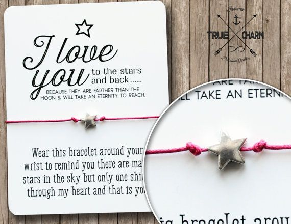 I love you to the moon and back - Silver star bracelet - I'll love you forever to the stars bracelet - moon and star bracelet - tiny star