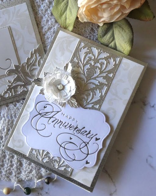 Special Occasions Card Happy Anniversary Card With Adriana Bolzon Creative Team For Couture Creations Fea Simple Cards Happy Anniversary Cards Creative Cards