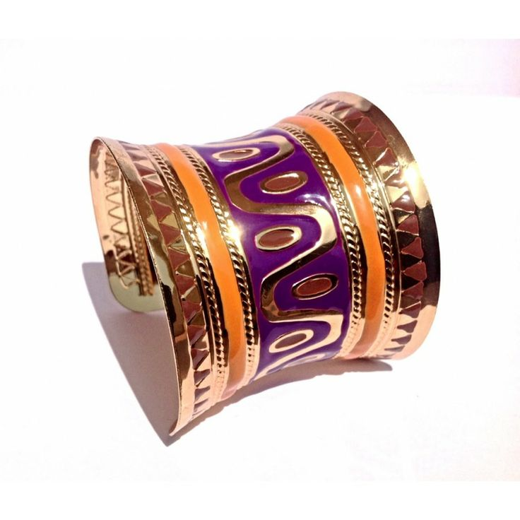 Bohemian Purple And Orange Brass Open Cuff