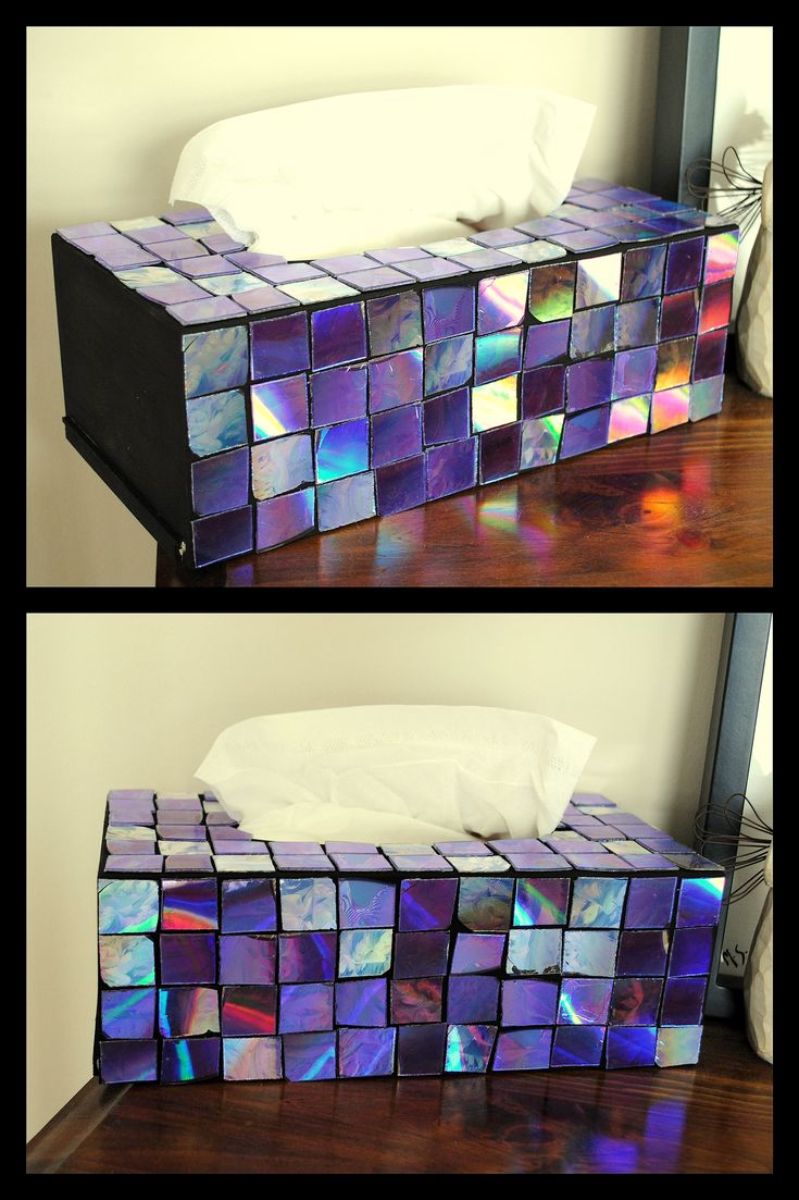 Kleenex Box Decor - ideas of things to do with old CDs: boxes, mirror  frames, bird baths, decor
