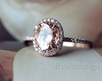 1.2ct Oval Cut Morganite Ring 2 Row Diamonds Pave by RobMdesign