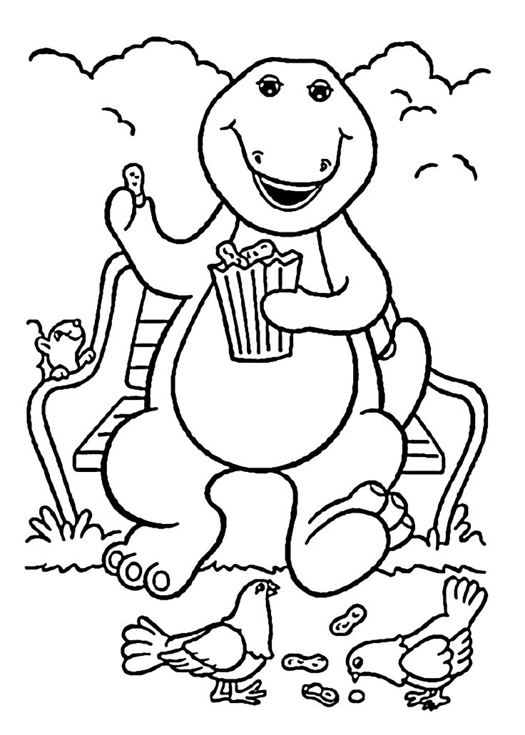 barney coloring pages for kids printable free barney dragon