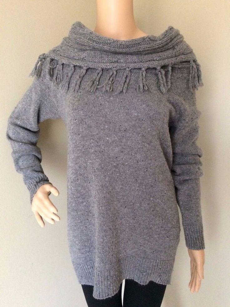 FOREVER 21 Women's Cowl Neck Sweater Wool Blend Fringe Off Shoulder Gray Medium #FOREVER21 #CowlNeck