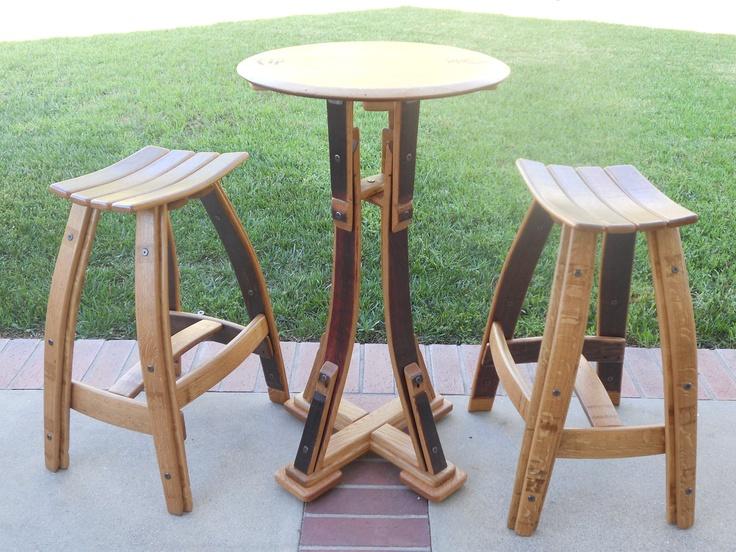 Wine Barrel Bistro set with stave seat stool. $1,295.00, via Etsy.