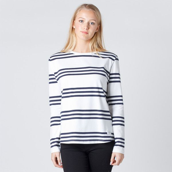 Huffer Long Sleeve Womens Avenue Tee - Navy Stripe