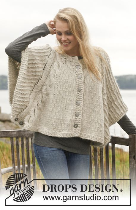 Dove - Knitted DROPS poncho with cables and textured pattern in ...