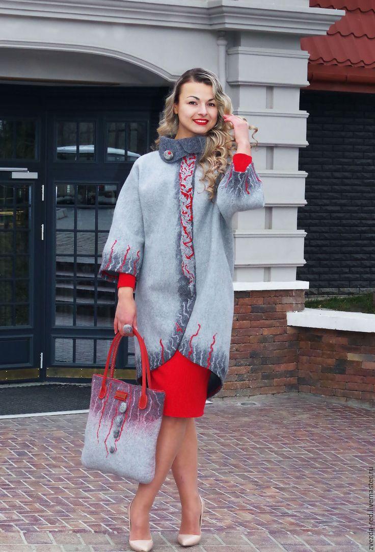 """Купить Кардиган """"Lady in red"""" - серый, красный, кардиган, пальто, валяное пальто"""