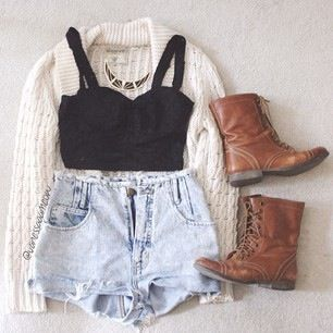 short crop top with high denim shorts, cardigan, and boots