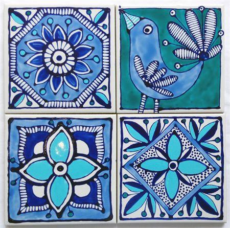 Pintado a mano Posavasos baldosa cerámica. Diseño inspirado marroquí