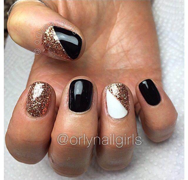 Gel nails black white gold design short