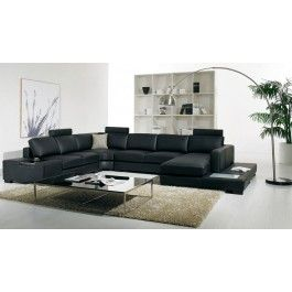 T35 Modern Black Sectional Sofa  sc 1 st  Pinterest : black leather sectional with chaise - Sectionals, Sofas & Couches