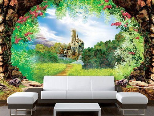 Door sticker castle cave grotto mural decole adhesive for Castle wall mural sticker