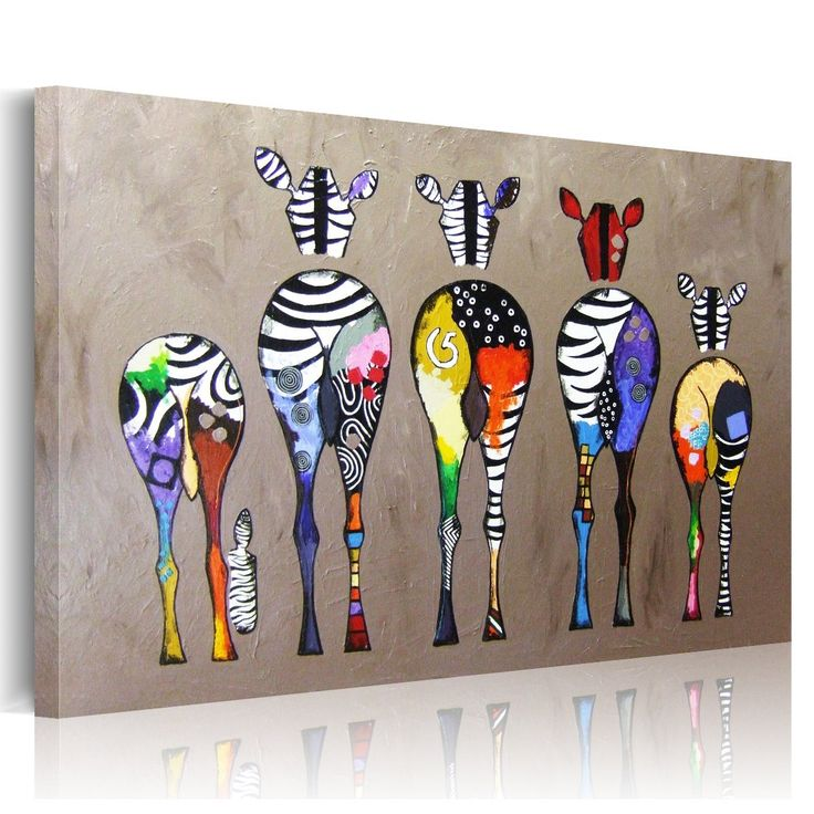 UNIQUEBELLA Multicolored Zebras background abstract Oil Painting on Canvas, Landscape Paintings on Canvas, Hand made Portfolio Wall Art for Home Decoration (No Frame),1 pc/set 75cm x 50cm: Amazon.co.uk: Kitchen & Home