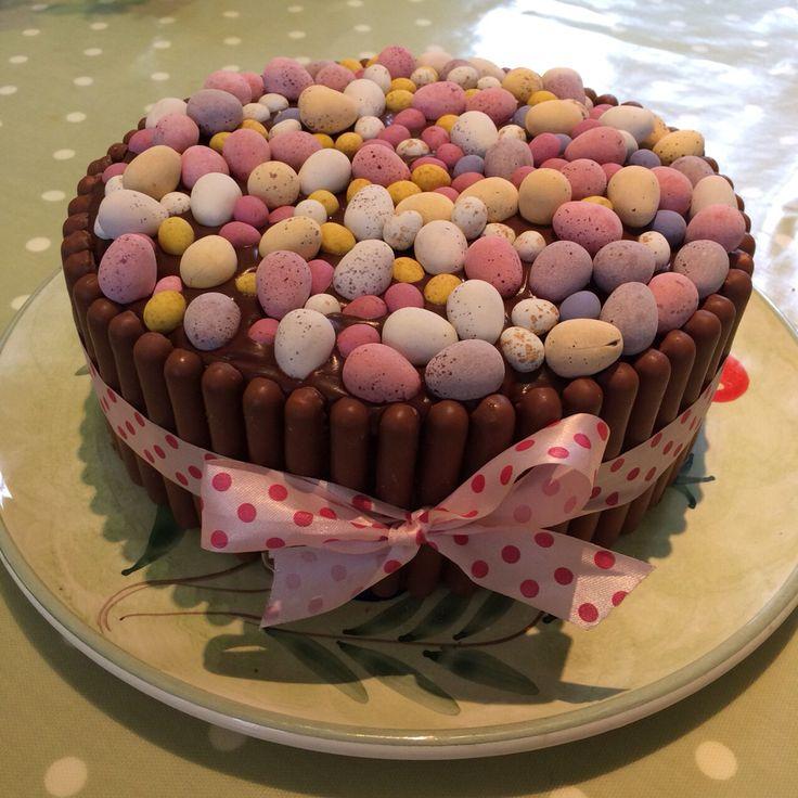 easter chocolate cake cadbury mini eggs and chocolate fingers i made
