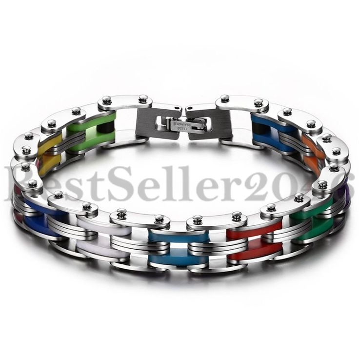 Edelstahl Gummi Kautschuk Armband Armreif Multicolor Mehrfarbig Link Handgelenk