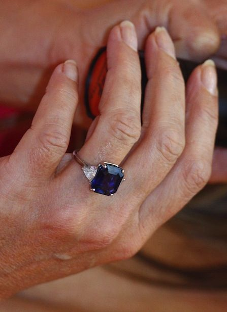 Who wears this stunning square blue sapphire engagement ring?