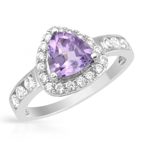 Ring With Amethyst & Zirconia-Size 7.5 Attractive cocktail ring with amethyst and cubic zirconia well made in 925 sterling silver. Total item weight 2.5g. Gemstone info: 1 amethyst, 1.65ctw., trillion shape and purple color, 23 cubic zirconias, 0.55ctw., round shape and white color.