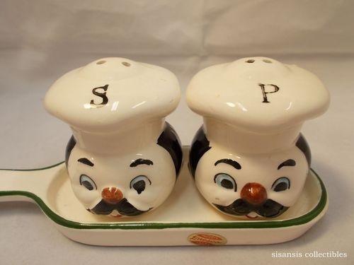Vintage Enesco Little Chefs Salt And Pepper Shaker Set