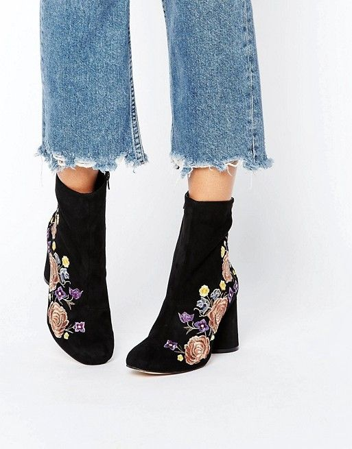 River Island | River Island Embroidered Heeled Ankle Boot