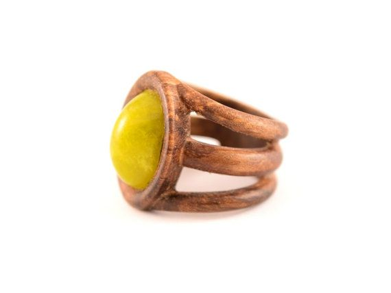 Wood ring Trinity with lizard stone by WoodenJewelryArt on Etsy