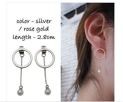 Earing Silver Rose Gold Color Circle and Pearl 1pair