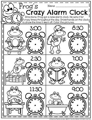 Printable Clock Worksheets For Kindergarten