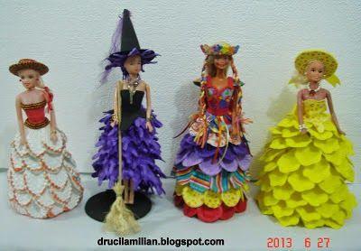 Arteirices da Dru: Vitrine de Idéias: Bonecas Tipo Barbie com Vestidos de EVA