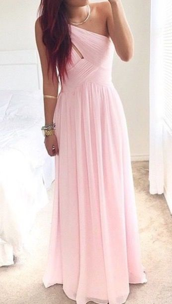 Sweetheart Pink One Shoulder Prom Dress