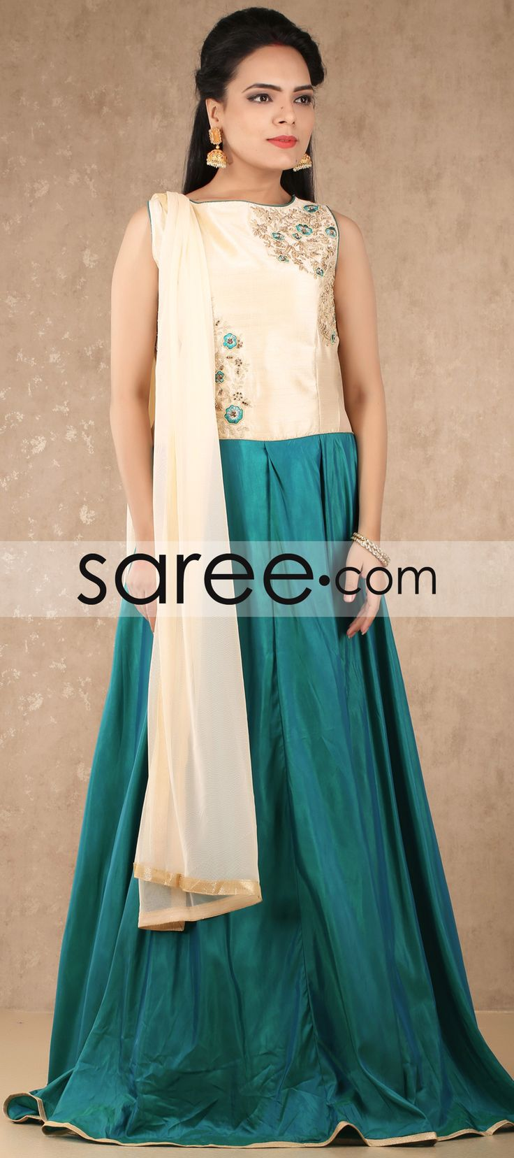 Cream and Sea Green Raw Silk Anarkali Suit with Embroidery Work