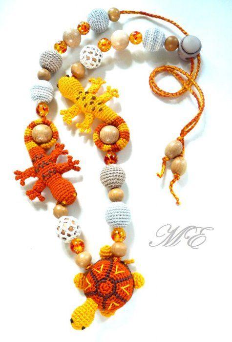 nursing necklace with lizaeds & turttle  - Слингобусы Ящерицы и Черепаха