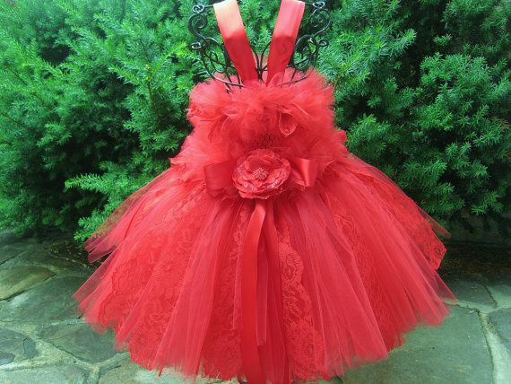 RUBY RED LACE Tutu Dress.  Bit of Fluff Bodice Baby by ElsaSieron, $75.00