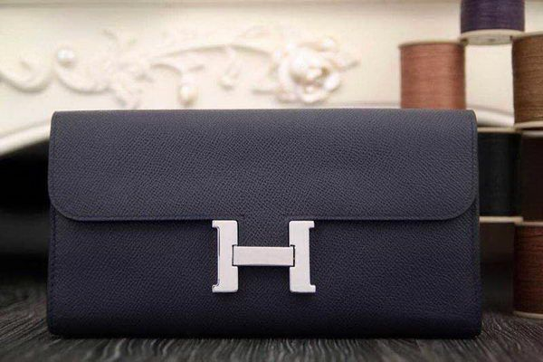 Hermes Constance Long Wallets Original Leather HA909 Royal