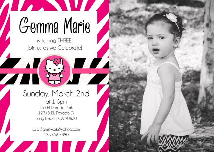 19 best hello kitty birthday ideas images on pinterest hello personalized zebra pink and black print hello kitty birthday invitation with photo 1000 via filmwisefo Image collections