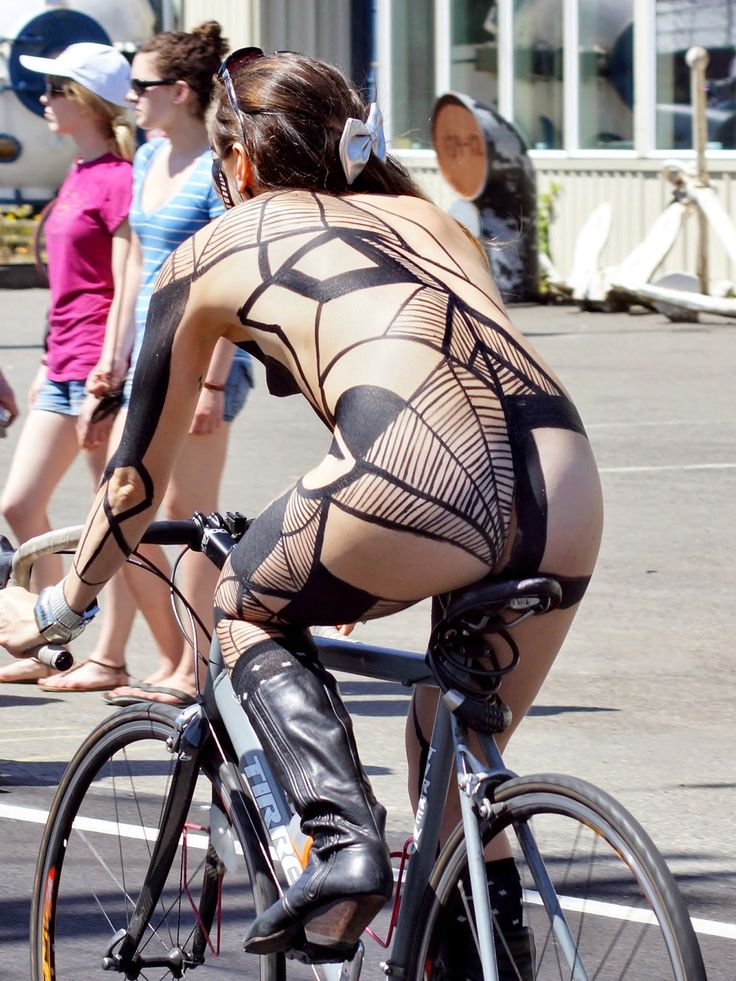 Naked nerdy girl bike