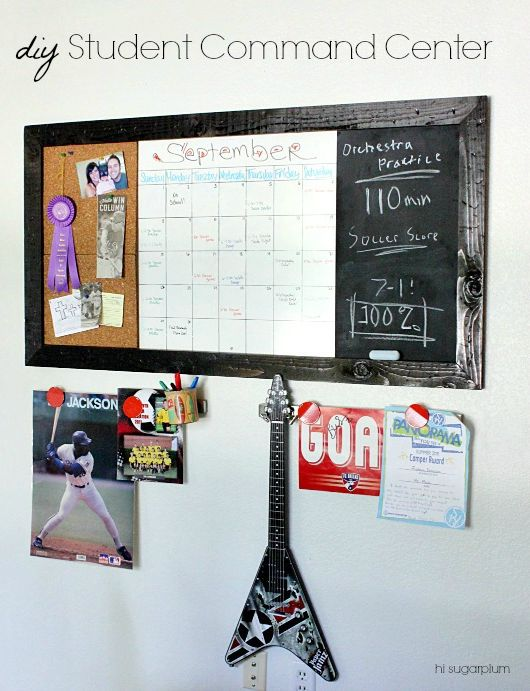 Hi Sugarplum | Oversized Wall Command Center to help students stay organized! Corkboard, Calendar & Chalkboard. Easy DIY inspired by PB Teen.