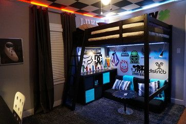 snowboard bedroom decorating ideas | The lights and decals are what make this cool BMX scooter room .