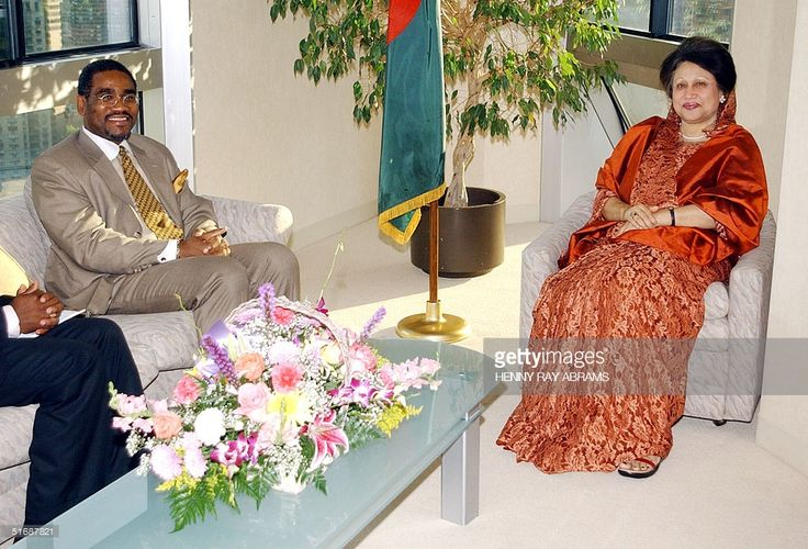10may 2002-  Prime Minister Begum Khaleda Zia of Bangladesh (R) meets with US Rep. Gregory Meeks (L) of New York in her hotel suite 10 May 2002 in New York. The prime minister was in New York to attend the United Nations Special Session on Children.