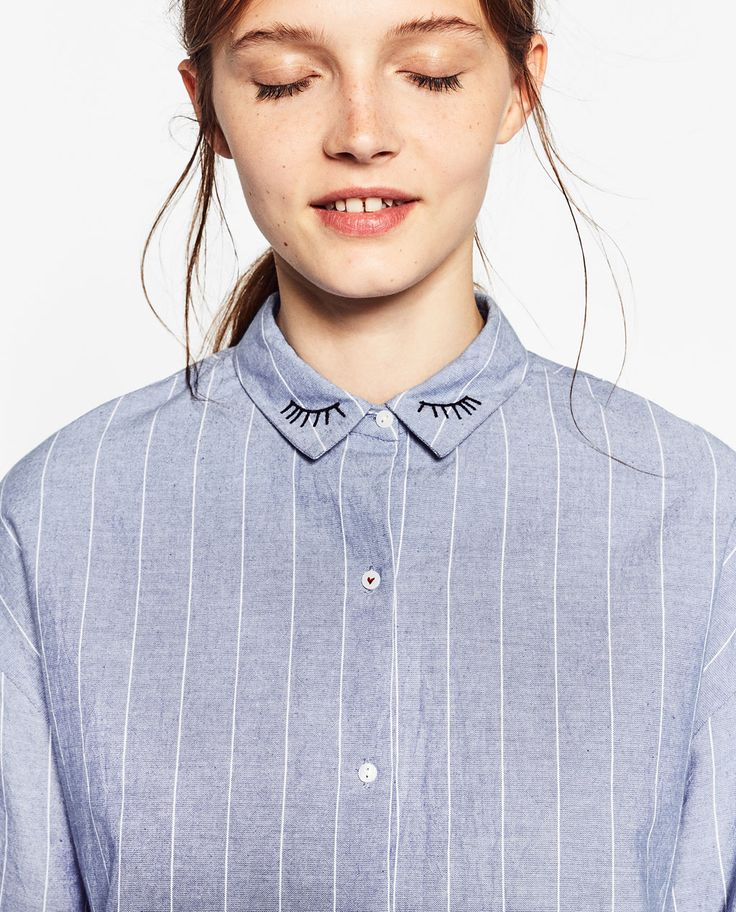 Image 4 of STRIPED SHIRT WITH EMBROIDERED COLLAR from Zara