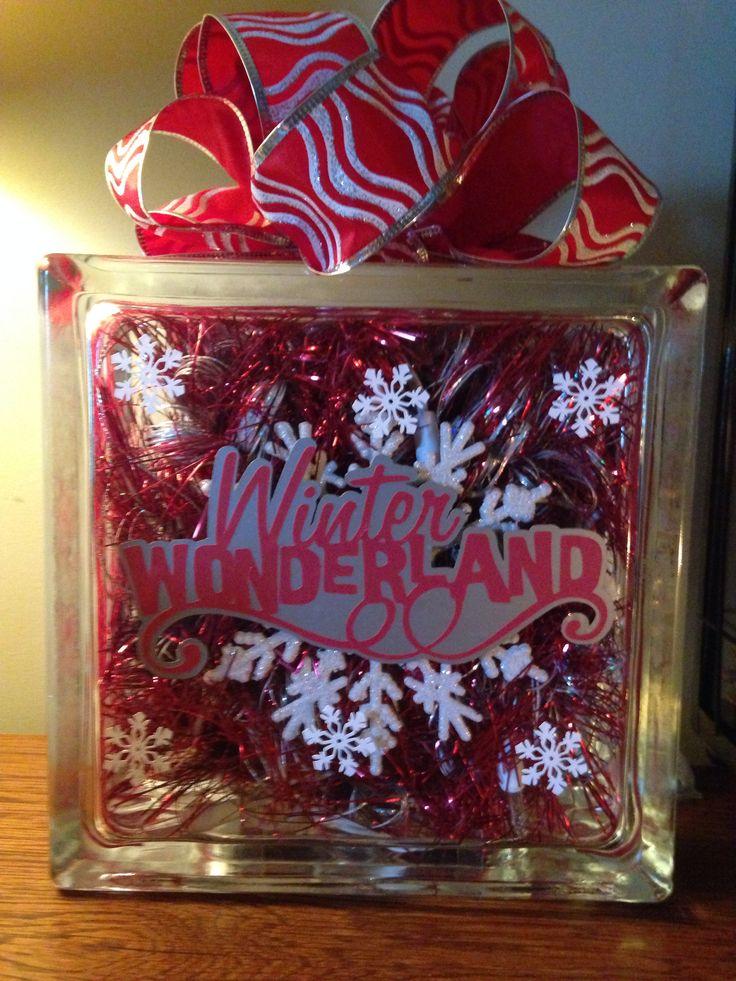 My Christmas lighted glass block :)