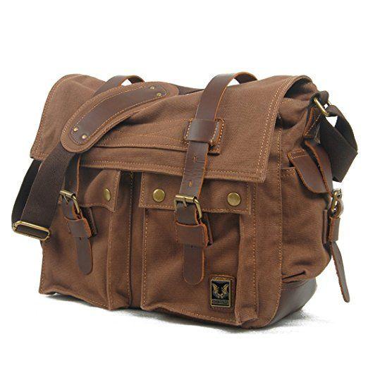 Estarer Vintage Umhängetasche Schultasche für Damen Herren Blau: Amazon.de: Koffer, Rucksäcke & Taschen