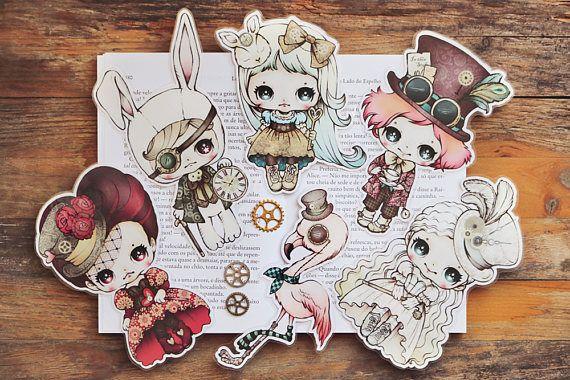 Alice in Wonderland Steampunk inspired set of bookmarks