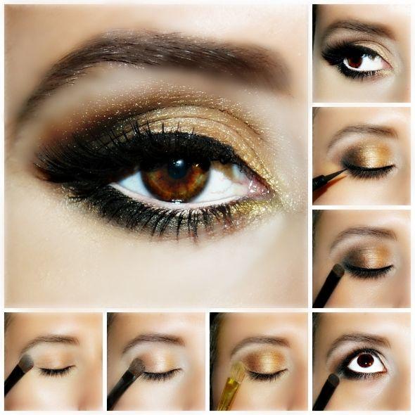 Maquillaje de ojos dorado y tonos tierra. Ideal para chicas morenas con ojos marrones. ¡Consigue un look elegante y sofisticado!