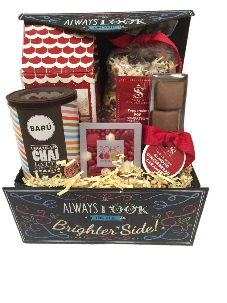 ROSE - This is the funest box we could find, reusable and inspirational!  All our favorites are included:  Sohococo enrobed chocolate and candy covered nuts and seeds, a box of milk chocolate dipped gingerbread men, a large bag of Pop Sensation, chocolate Chai Latte and gourmet gingerbread almond caramels.