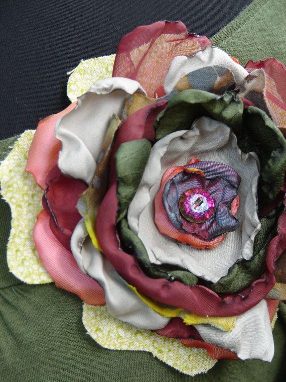 Layered Fabric Flower Brooch