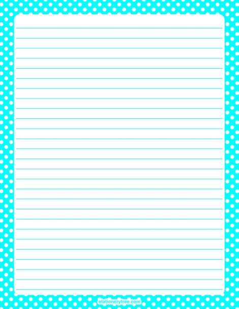 Printable aqua polka dot stationery and writing paper. Multiple versions available with or without lines. Free PDF downloads at http://stationerytree.com/download/aqua-polka-dot-stationery/