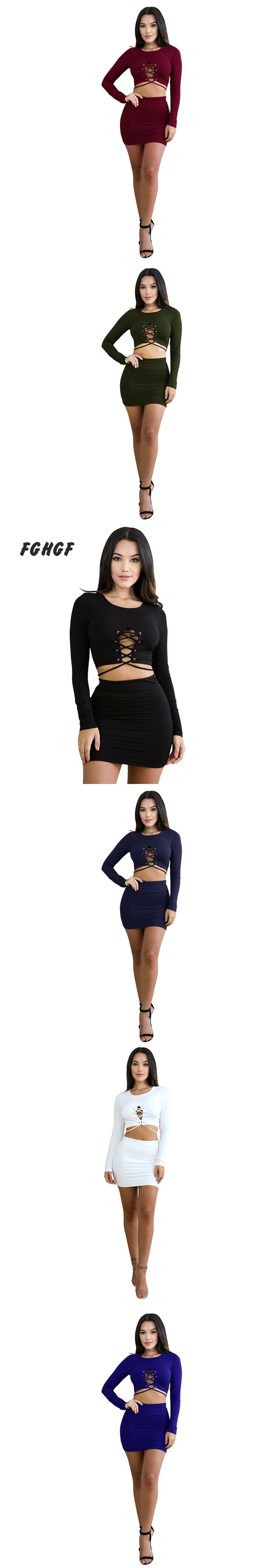 FGHGF Women's Sexy 2 Piece Skirt Set Conjunto Feminino Long Sleeve O-neck Hollow Pullover Crop Top &Mini Skirt Set Two Piece Set