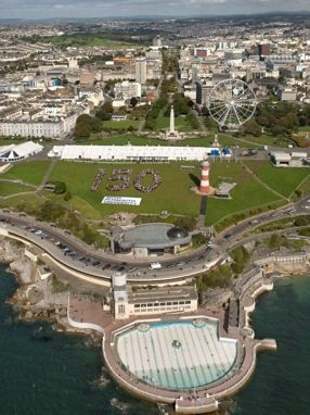 Plymouth University graduation marquees on Plymouth Hoe, with staff and students creating their own massive '150' to celebrate our 150th anniversary.