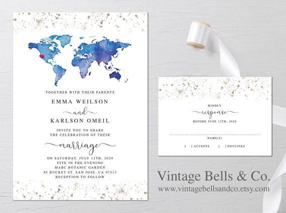 Wedding Invitation World Map Watercolor Invitation Destination