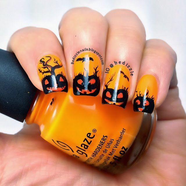 69 best Halloween Pumpkin Nail Art images on Pinterest | Halloween ...